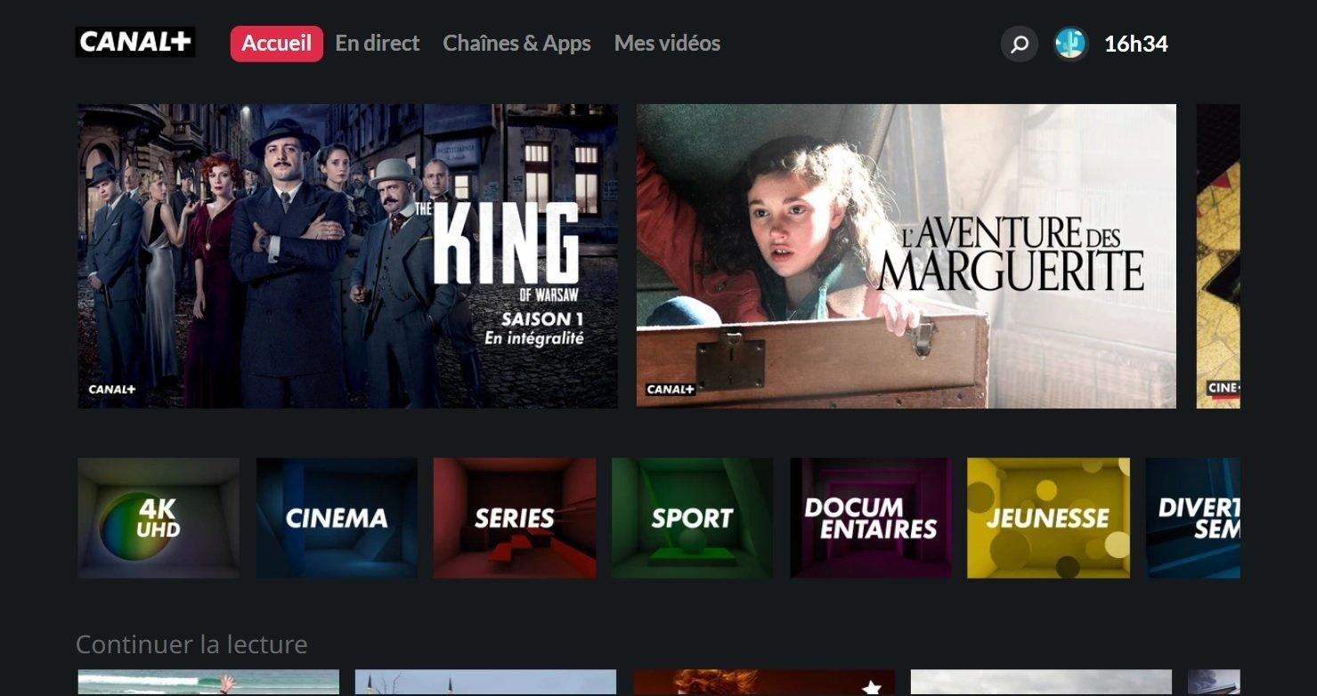 Image de l'accueil de l'appli CANAL+ sur Smart TV Samsung