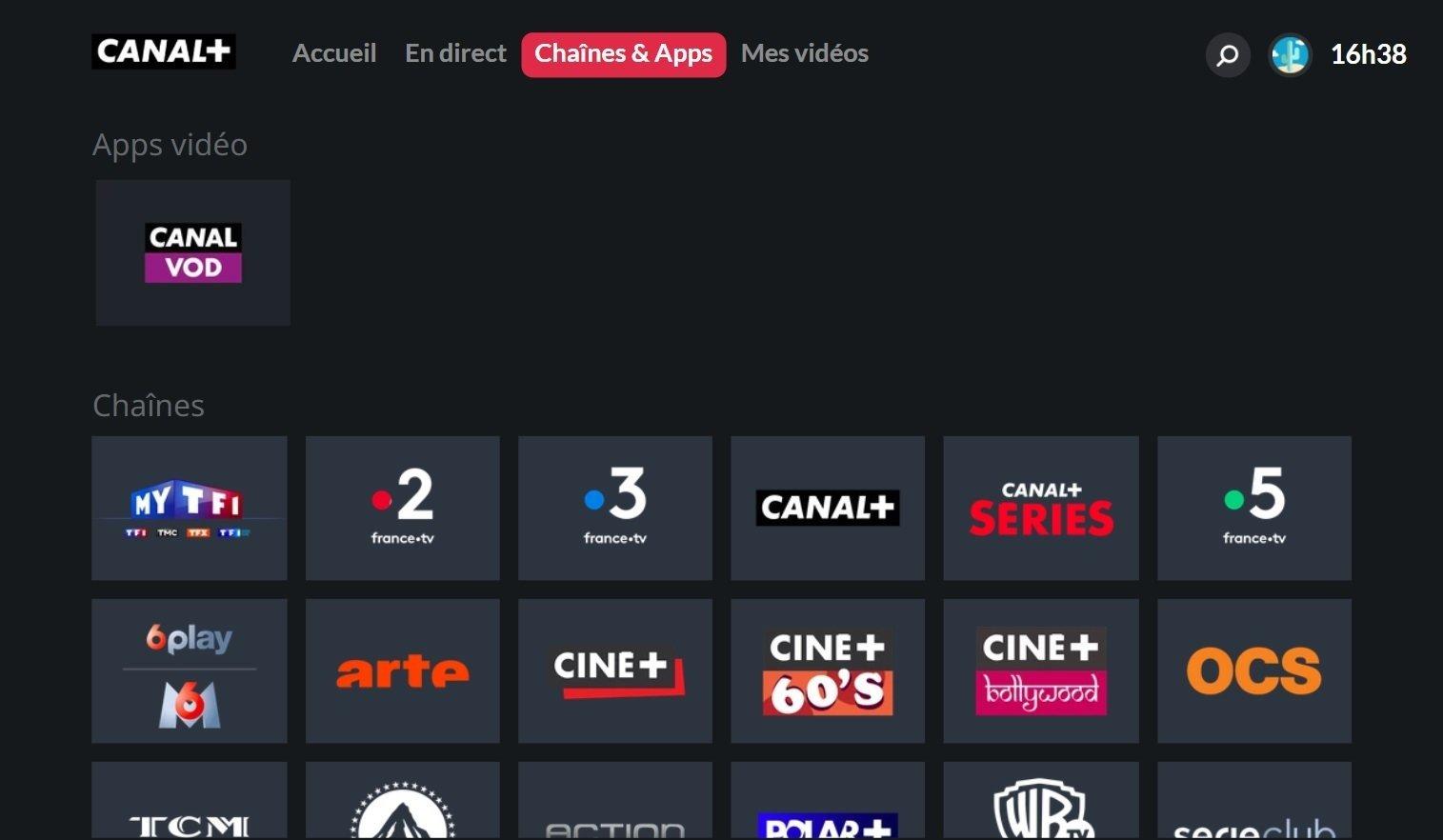 Image du menu Chaînes et Apps de l'appli CANAL+ sur Smart TV Samsung