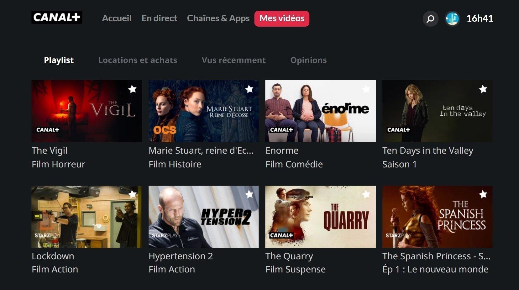 Image du menu Mes vidéos de l'appli CANAL+ sur Smart TV Samsung